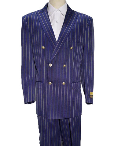 Mens Double Breasted Bold Pinstripe in Purple & White