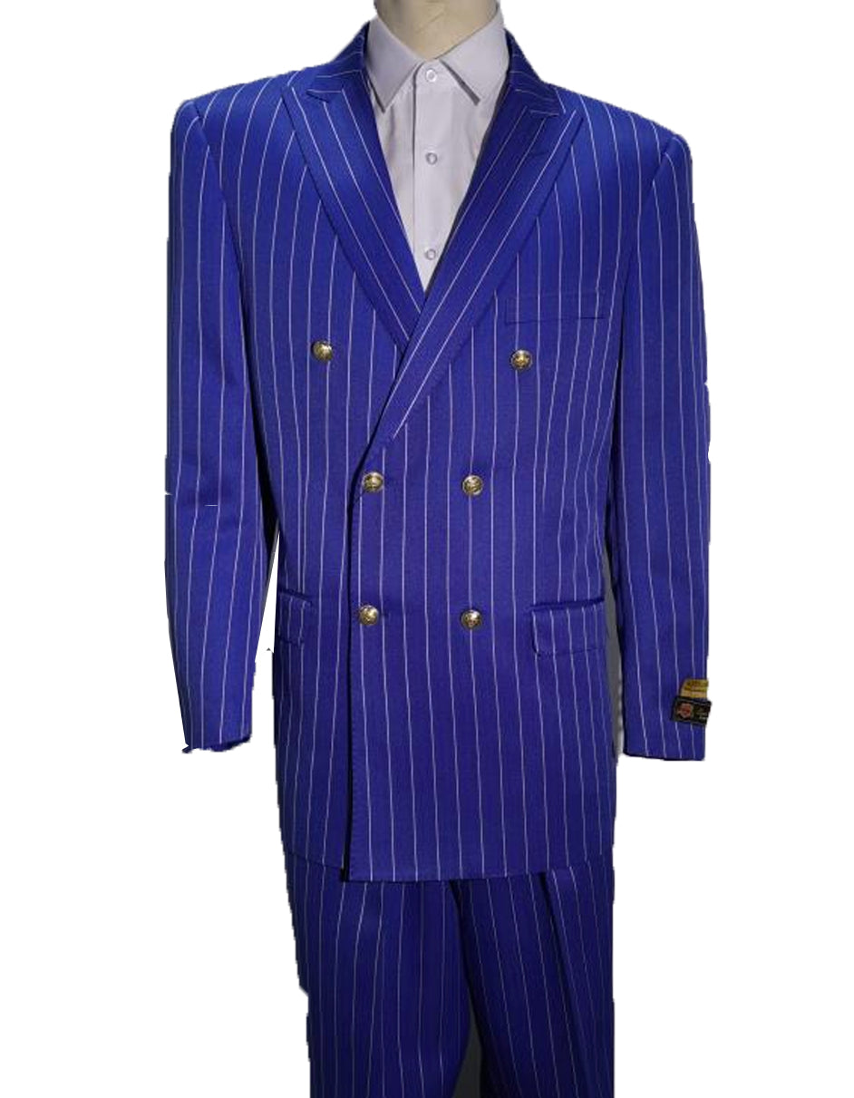 Mens Double Breasted Bold Pinstripe in Royal & White