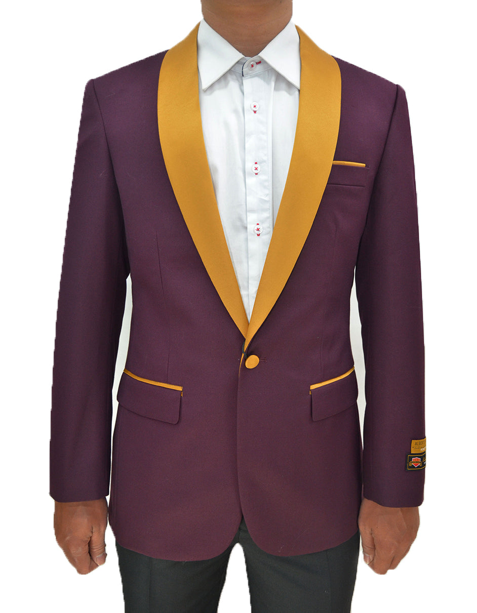 Mens One Button Contrast Shawl Collar Dinner Jacket Burgundy & Gold