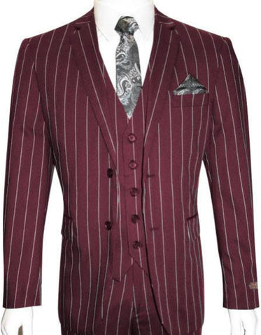 Mens 2 Button Gangster Pinstripe Suit in Burgundy