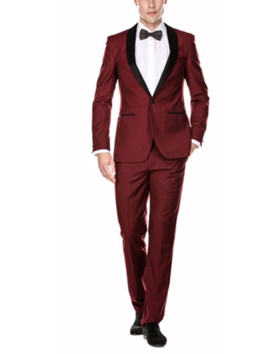Mens Slim Fit 1 Button Shawl Tuxedo in Burgundy