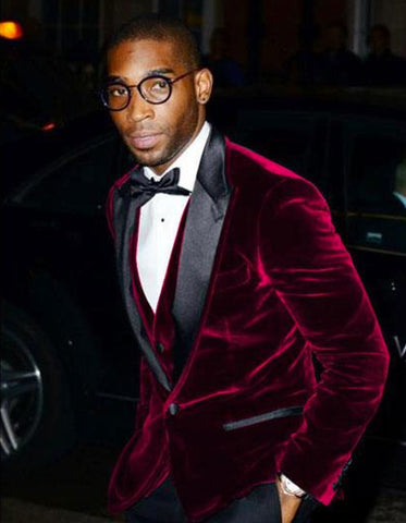 Mens Designer Velvet Dinner Jacket in Burgundy
