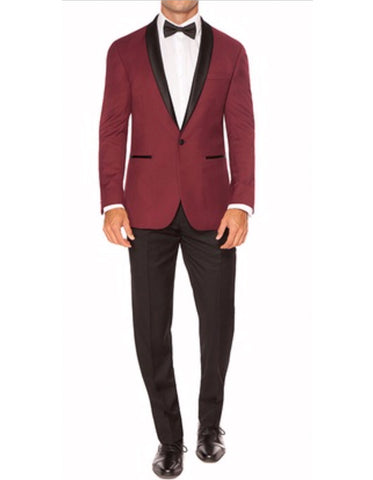 Mens Slim Fit 1 Button Shawl Dinner Jacket in Burgundy