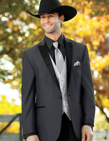 Mens 1 Button Peak Lapel Cowboy Tuxedo in Grey