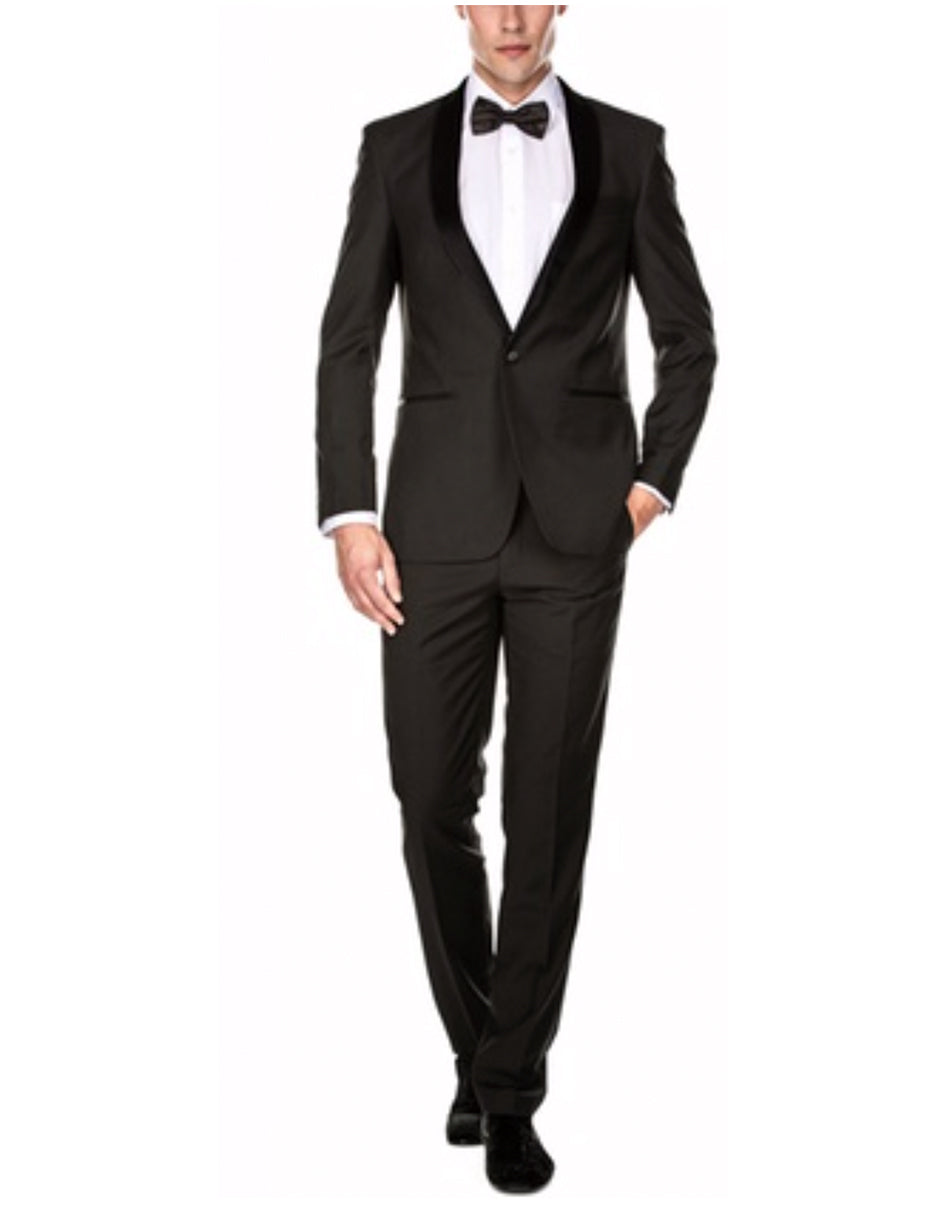 Mens Slim Fit 1 Button Shawl Tuxedo in Charcoal