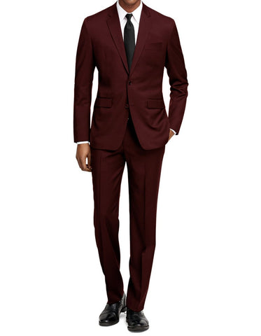 Mens Slim Fit Suit Burgundy