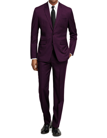 Mens Slim Fit Suit Plum