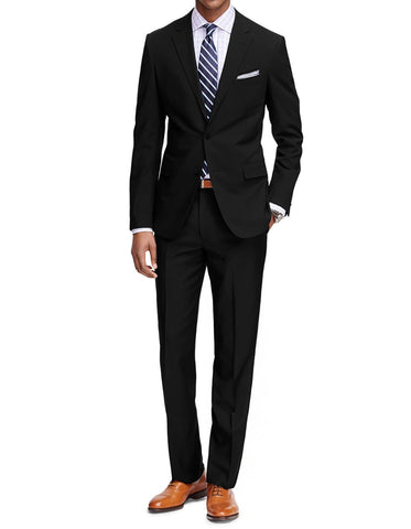 Mens Cheap Slim Fit Suit Solid Black