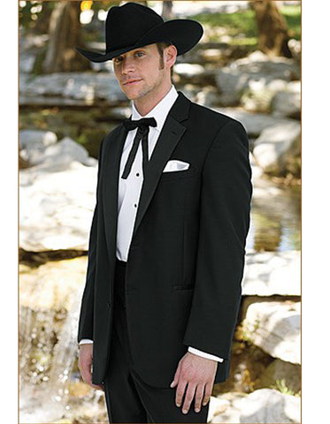 Mens 2 Button Notch Lapel Cowboy Tuxedo in Black