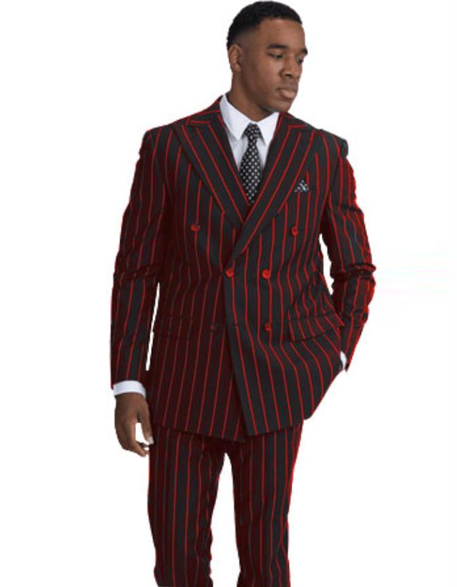 Mens Double Breasted Gangster Pinstripe in Black & Red