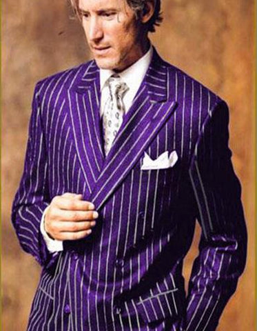 Mens Double Breasted Gangster Pinstripe in Purple & White