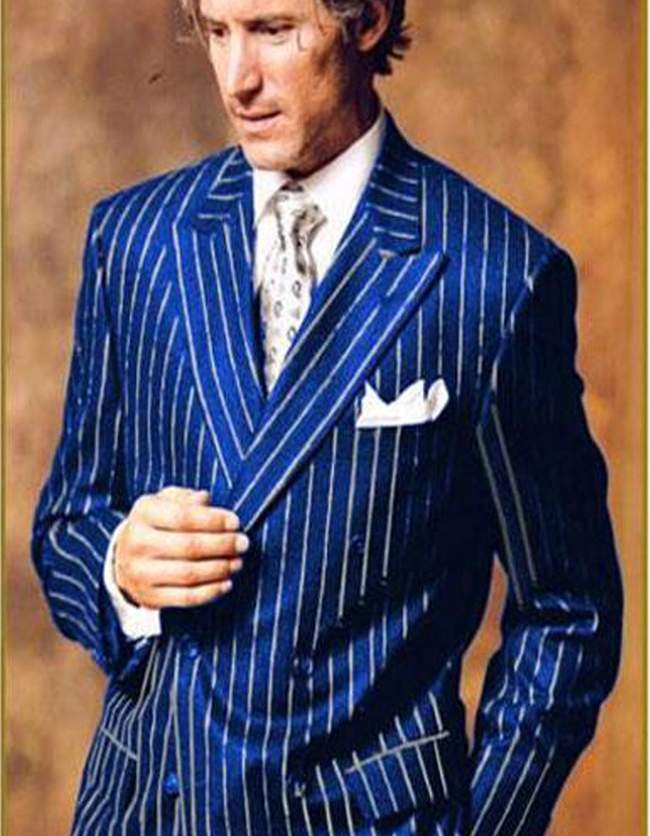 Mens Double Breasted Gangster Pinstripe in Royal & White