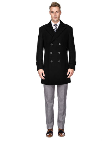 Mens Modern Double Breasted Wool Pea Coat in Black