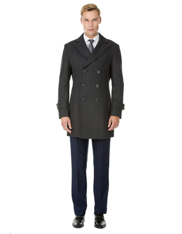 Mens Modern Double Breasted Wool Pea Coat in Charcoal Grey