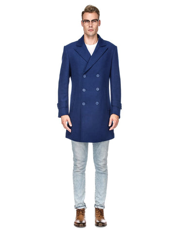 Mens Modern Double Breasted Wool Pea Coat in Indigo Blue