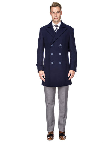 Mens Modern Double Breasted Wool Pea Coat in Navy Blue