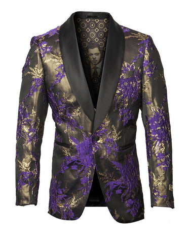 Mens Empire Shawl Blazer in Purple & Gold