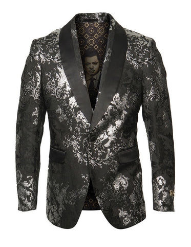 Mens Empire Shawl Blazer in Black & Silver