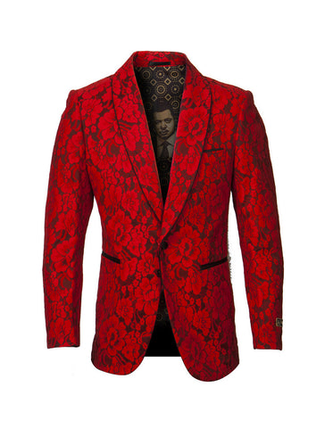 Mens Empire Lace Floral Blazer in Red