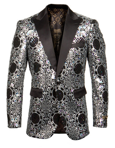 Mens Empire Peak Blazer in Silver Geometric Print