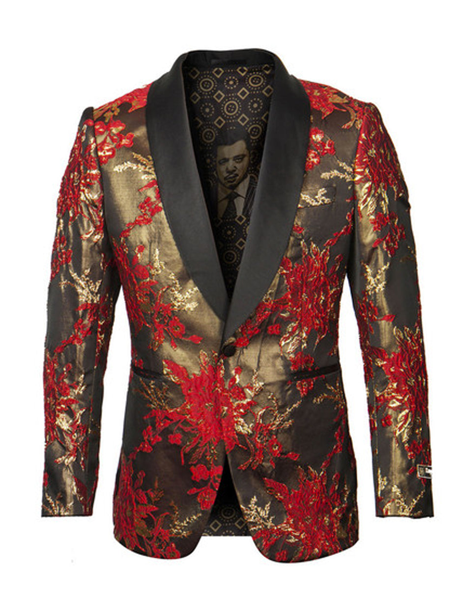 Mens Empire Shawl Blazer in Red & Gold