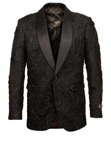 Mens Empire Lace Floral Blazer in Black