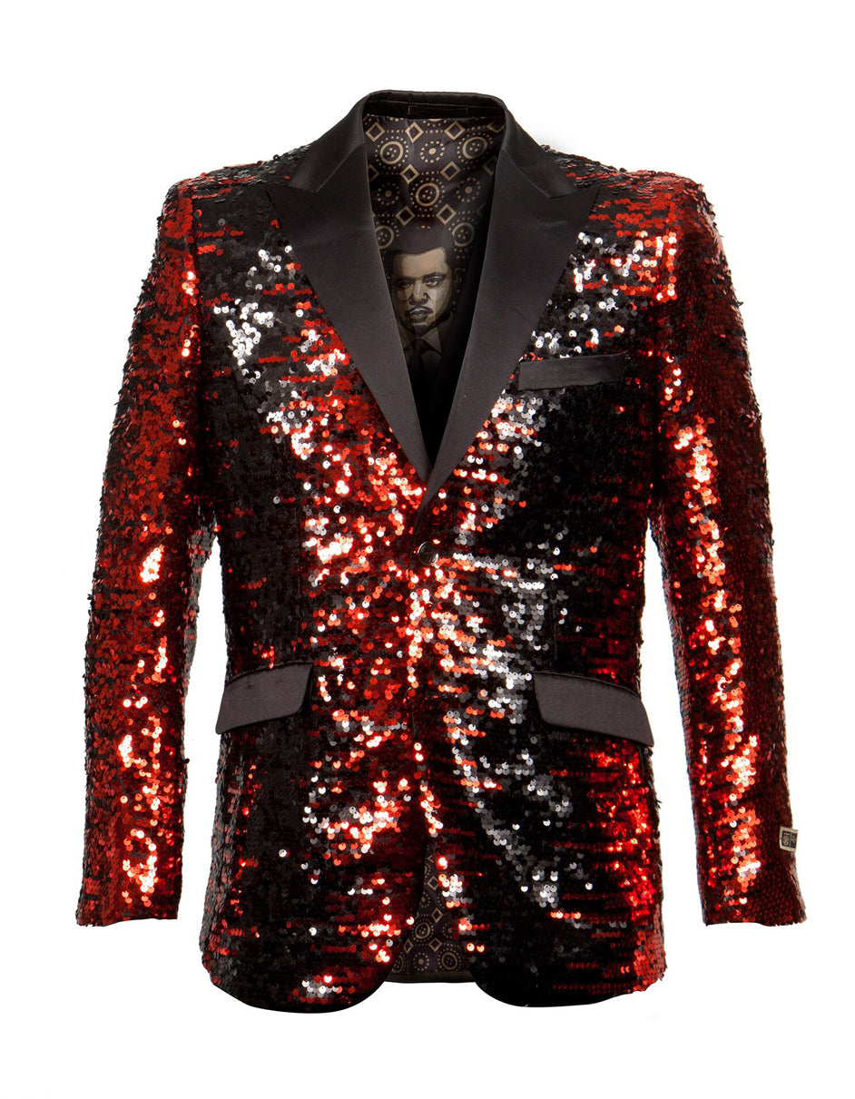 Mens Empire Sequin Blazer in Black & Red