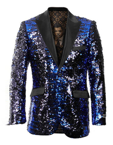 Mens Empire Sequin Prom Blazer in Royal Blue & Black