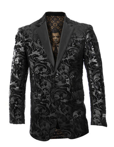 Mens Empire Velvet Brocade Blazer in Black