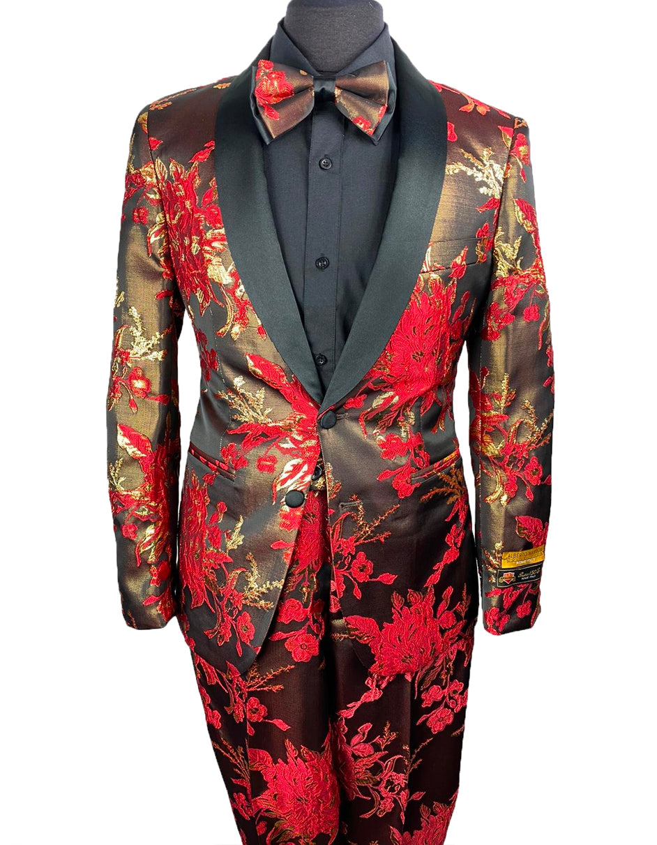 Mens Floral Prom Tuxedo in Red & Gold Package w/ Matching Pants & Bowtie