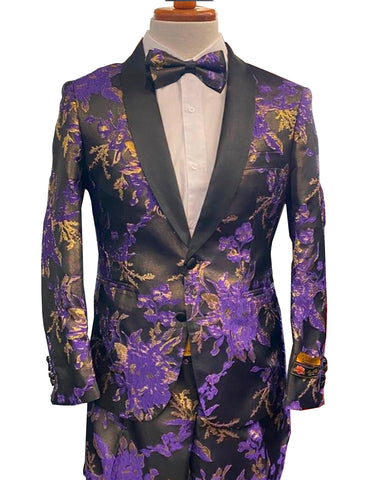 Mens Floral Prom Tuxedo in Purple Package w/ Matching Pants & Bowtie