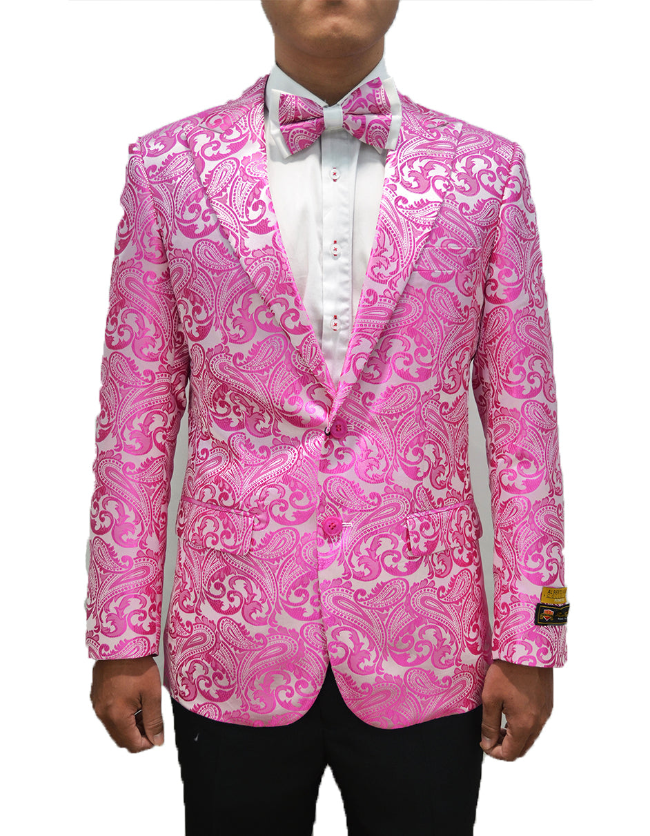 Mens Paisley Dinner Jacket Blazer in Fuchsia