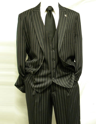 Mens 2 Button Gangster Pinstripe Suit in Black