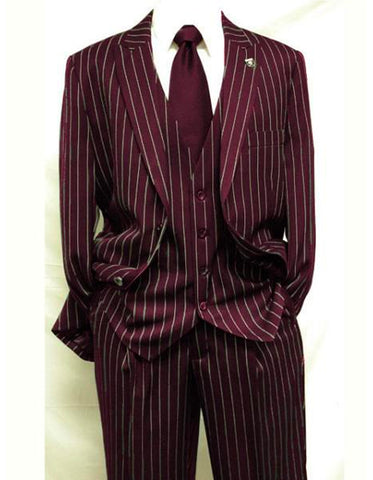 Mens 2 Button Vested 3 Piece Gangster Bold Pinstripe Suit in Burgundy