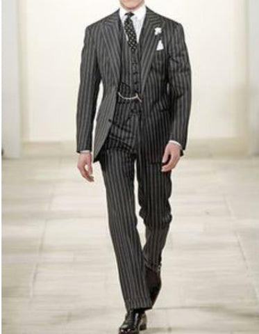Mens 2 button Gangster Pinstripe Suit in Black & White