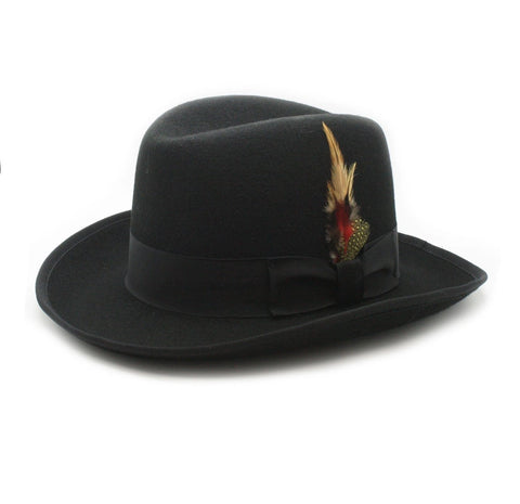 Mens Gangster Godfather Hat in Black