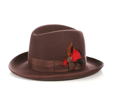 Mens Gangster Godfather Hat in Brown