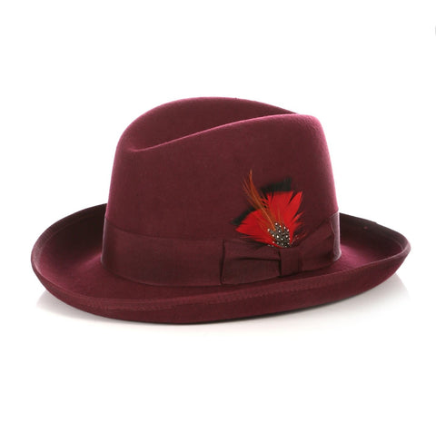 Mens Gangster Godfather Hat in Burgundy