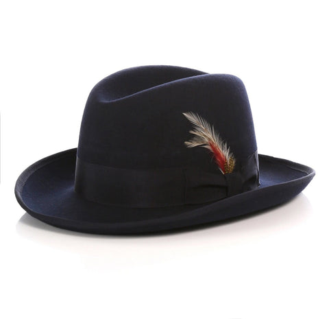 Mens Gangster Godfather Hat in Navy