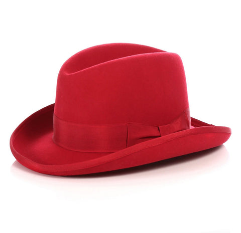 Mens Gangster Godfather Hat in Red