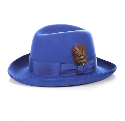 Mens Gangster Godfather Hat in Royal Blue