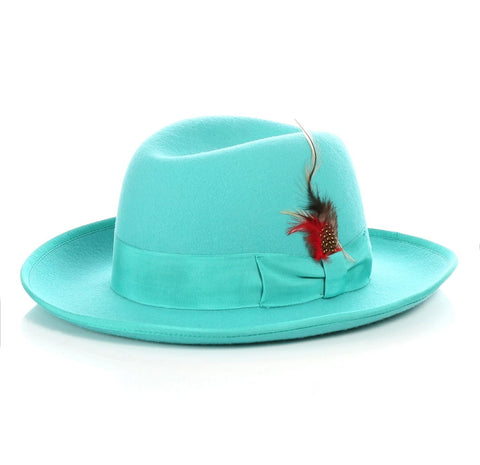 Mens Gangster Godfather Hat in Turquoise