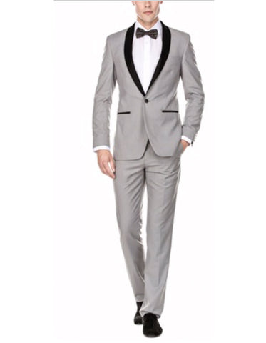 Mens Slim Fit 1 Button Shawl Tuxedo in Light Grey