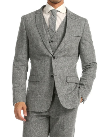 Mens Vested Tweed Pindot Modern Fit Suit in Light Grey