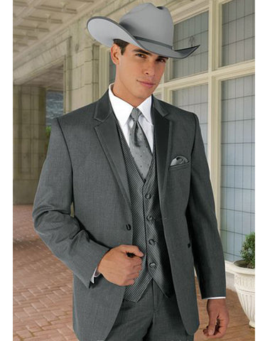 2 Button Vested Trim Cowboy Tuxedo in Grey