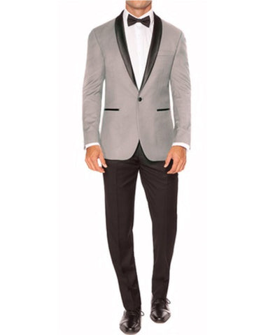 Mens Slim Fit 1 Button Shawl Dinner Jacket in Light Grey