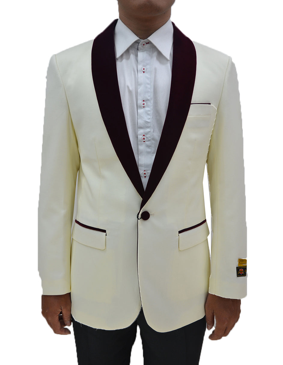 Mens One Button Contrast Shawl Collar Dinner Jacket Ivory & Burgundy
