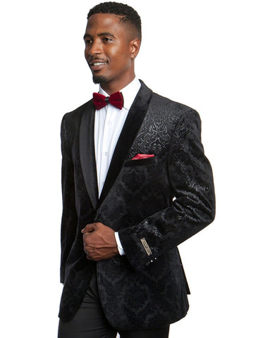 Mens Velvet Paisley Smoking Jacket in Black | Prom