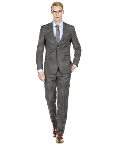 Mens Modern Fit Gangster Pinstripe Suit Charcoal Grey