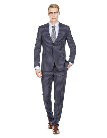 Mens Modern Fit Gangster Pinstripe Suit Navy Blue